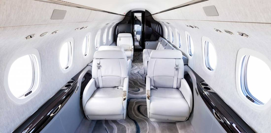 The interior for the Longitude flown for this report included the optional three-place couch in the rear seating area.