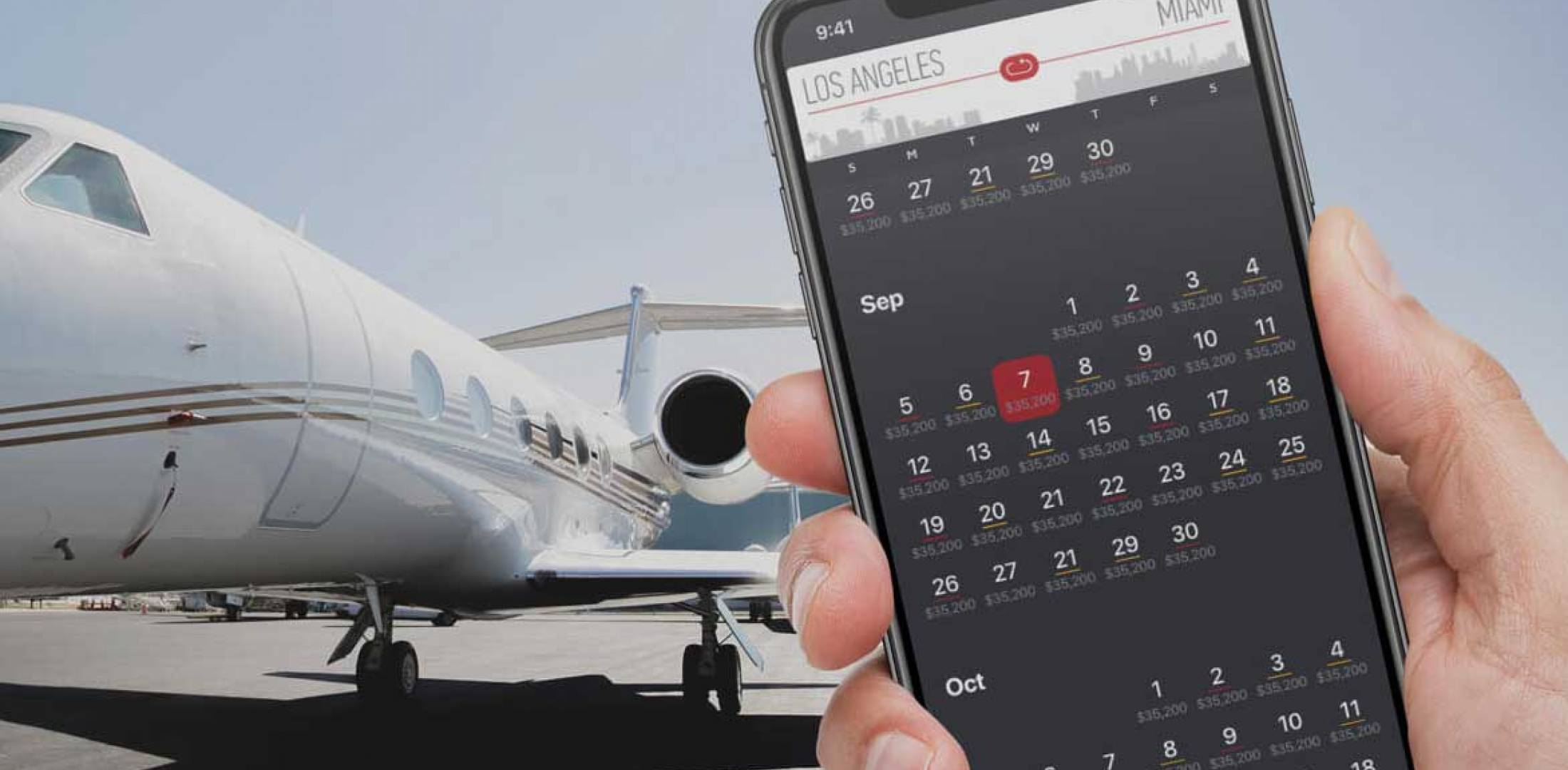 Xo aircraft with booking app