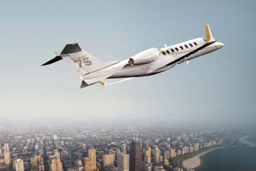 Learjet 75 in flight